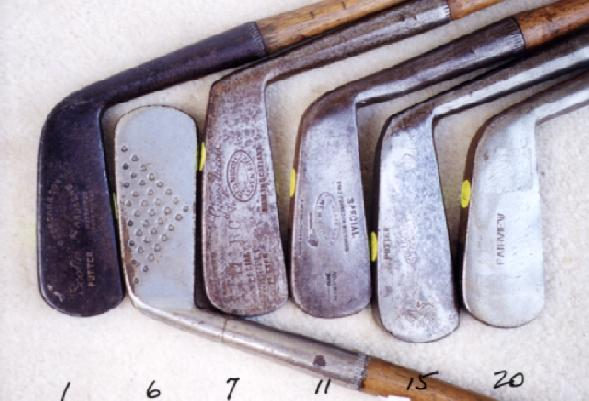 Wooden Shafted Golf Clubs, wood shaft putters, hickory shaft niblicks, long nose woods and rut irons.