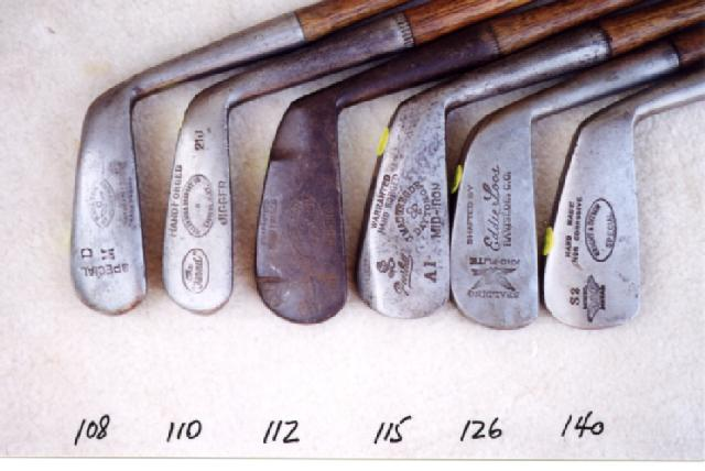 Wooden Shafted Golf Clubs, wood shaft putters, hickory shaft niblicks, long nose woods and rut irons. Golf Balls and Collectibles. Collectables.