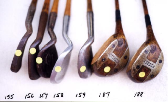 Wooden Shafted Golf Clubs, wood shaft putters, hickory shaft niblicks, long nose woods and rut irons. Golf Balls and Collectibles. Anti Shank