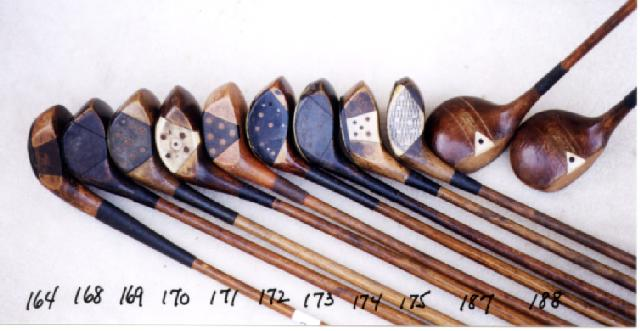 Wooden Shafted Golf Clubs, wood shaft putters, hickory shaft niblicks, long nose woods and rut irons. Golf Balls and Collectibles.